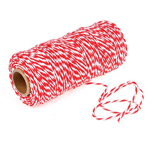 OFNMY Red and White Bakers Twine Christmas Gift Wrapping Cotton Twine for Baking Butchers DIY Arts Crafts (1mm/328 Feet)