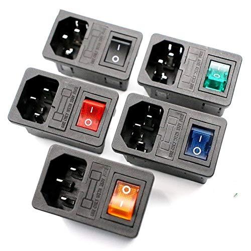 Interruptor basculante 5 PCs con 10A fusible!Interruptor de Red Rocker Fundida C14 zócalo de la corriente del fusible Interruptor Conector Conector Rojo Verde Azul Negro para coche, barco, camión
