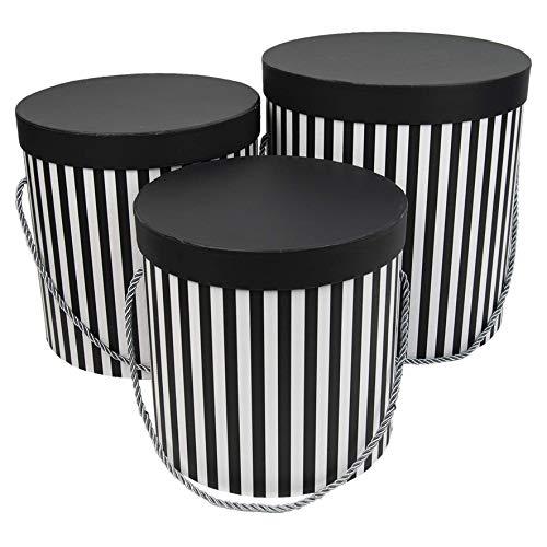 3er Set runde Aufbewahrungsboxen mit Deckel, mit Kordel und Quaste, Hutschachtel, Dekobox mit Streifen, runde Blumenbox (Schwarz/Weiß)