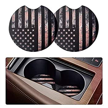 2 Pack Car Coasters for Drinks Absorbent - 2.75 Inch Cute Car Cup Holder Coasters for Women Removable Cup Holder Coaster for Your Car Car Interior Accessories for Women & Girls  Black Flag