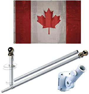 MWS 3'X5' Canada Canadian Premium 210D 3x5 Flag Set (Super Polyester) w/Heavy Duty 6-Feet Spinning Flag Pole Bracket Residential Commercial