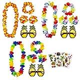 aovowog Hawaiian Collier de Fleurs Bracelets Bandeaux et Lunettes de Soleil Ananas et Tatouages pour Beach Party Décorations Fournitures Photo Booth [3 Set]
