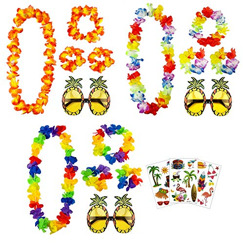 aovowog Hawaii Blumenketten Ananas-Sonnenbrille und Tätowierungen für Beach Party Dekorationen Supplies Photo Booth [3 Set]