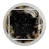 Juego de 4 pomos de cristal   Perillas de gabinete de diseño de color, ramas de árbol de Navidad dorado con fondo negro