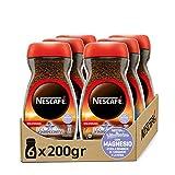 NESCAFÉ VITALISSIMO DESCAFEINADO con magnesio, café soluble descafeinado, frasco de vidrio, Pack de 6 x 200 g