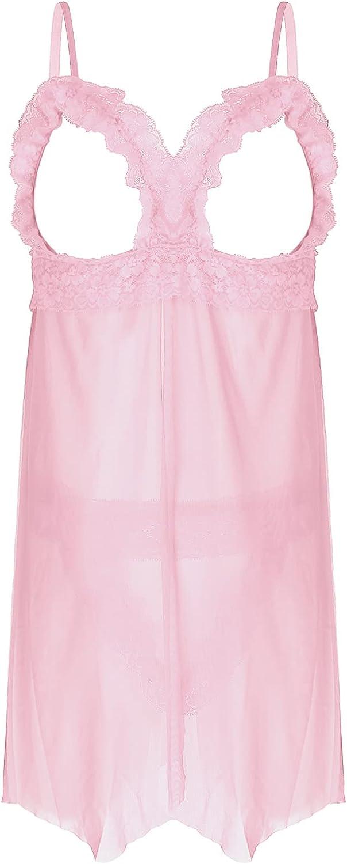 TiaoBug Men's V-Neck Chemise Babydoll Sleepwear Cross Dresser Lingerie Pajamas Set