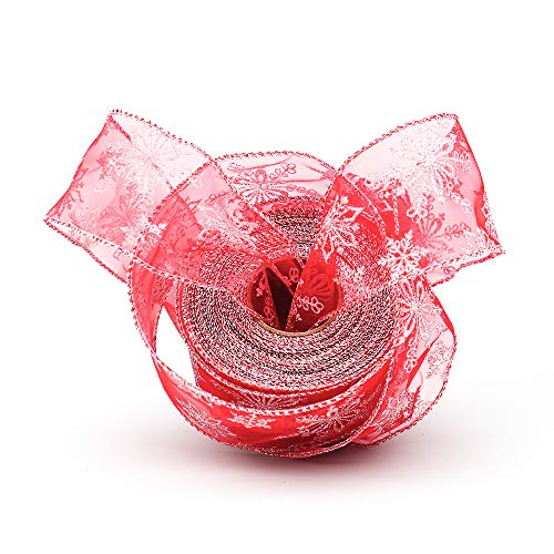 Supzone Christmas Ribbon Red 2.5 Inch X 20 Yards Organza Glitter Silver Snowflake Wired Sheer Ribbons for Christmas Tree DIY Wedding Floral Craft Holiday Home Decoration Gift Wrap Ribbon