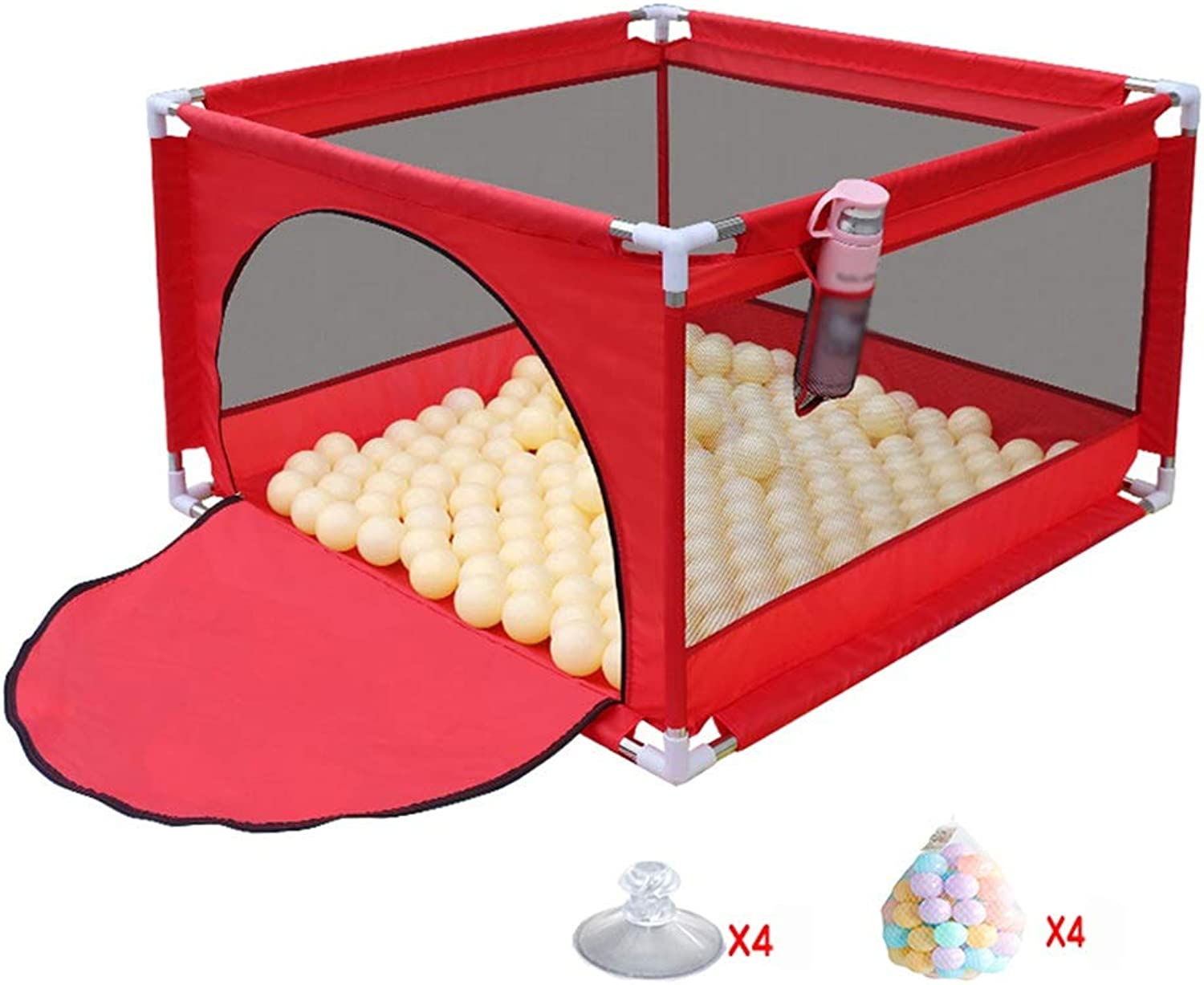 CHAXIA Baby playpen Safety Fence Toddler Fences Household Ball Pool Toy Guard Fences Red, 2 Specifications (color   A, Size   105x105x66cm)