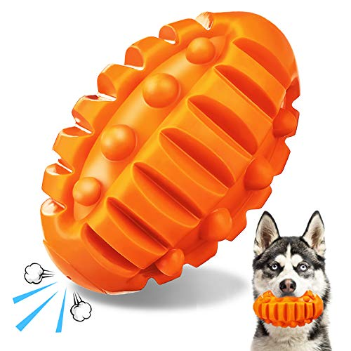 FOCUSPET Squeaky Dog Toys for Aggressive Chewers Large Breed Pet Chew Toys Dog Almost Indestructible Durable Squeaky Toys with Non-Toxic Natural Rubber for Medium Large Breed Dogs Puppies