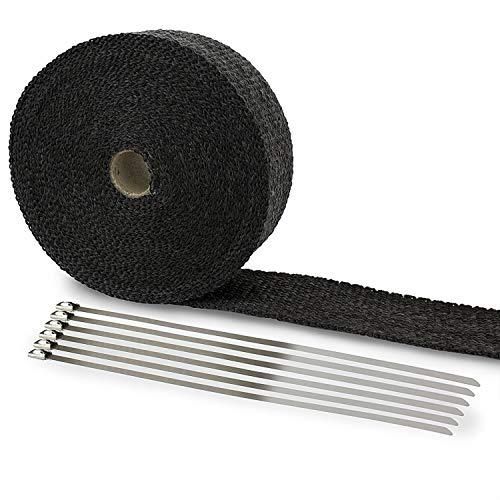 Hitzeschutzband Fiberglas 10M Auspuffband + Kabelbinder für Fächerkrümmer Auto Motorrad Thermoband Krümmerband Schwarz