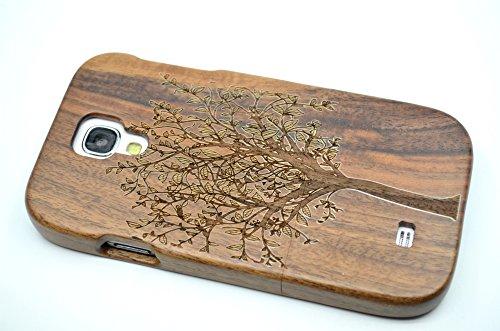 PhantomSky Cassa di Legno di Samsung Galaxy S4, [Serie qualit à Premium Cover in bambù/Legno Naturale per Il TuoSmartphone - Albero di Natale Legno Noce(Walnut Christmas Tree)
