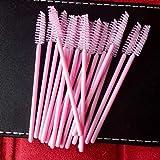 100 PCS F.S.Disposable Eyelash Mascara Brushes Makeup Brush Wands Applicator Makeup Kits (100pink)