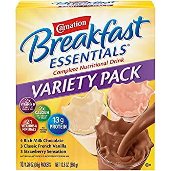 Carnation Breakfast Essentials Powder Drink Mix Variety Pack Complete Nutritional Drink 10 Count Box of 1.26 Ounce Packet
