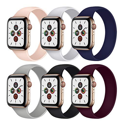 YakTei Apple Watch ソロループバンド series 6/5/4/3/2/1/SE対応 38mm 40mm 42mm 44mm (42/44mm M, グリーン)