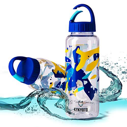 KYKYOTO - Borraccia Eastman Tritan, senza BPA, 0,65 l (22oz) A prova di perdite, trasparente. Con clip. Per campeggio, ciclismo, escursionismo, yoga, palestra, scuola e altro ancora.