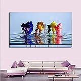 MINMIN Cuadros Decoracion Salon Lienzo contemporáneo Pintura al óleo Colorida Agua Ballet imágenes artísticas para Pared Sala Estar Dormitorio Pintura hogar Dia del Padre Regalos 20x28inch