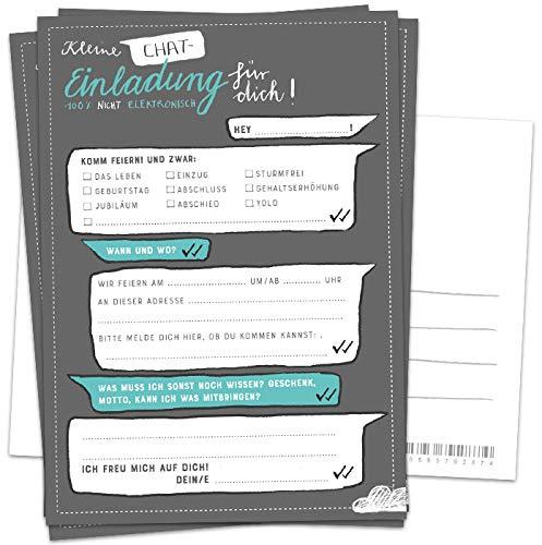10 Einladungskarten - Kleine Chat Einladung für dich - Grau Weiß Türkis, Postkarten Einladungen zum Geburtstag, Jubiläum, Party, Einzug, Abschluss, Abschiedsfest, DIY Design mit Adressfeld