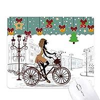 フランスの自転車の女性イラストパターン ゲーム用スライドゴムのマウスパッドクリスマス