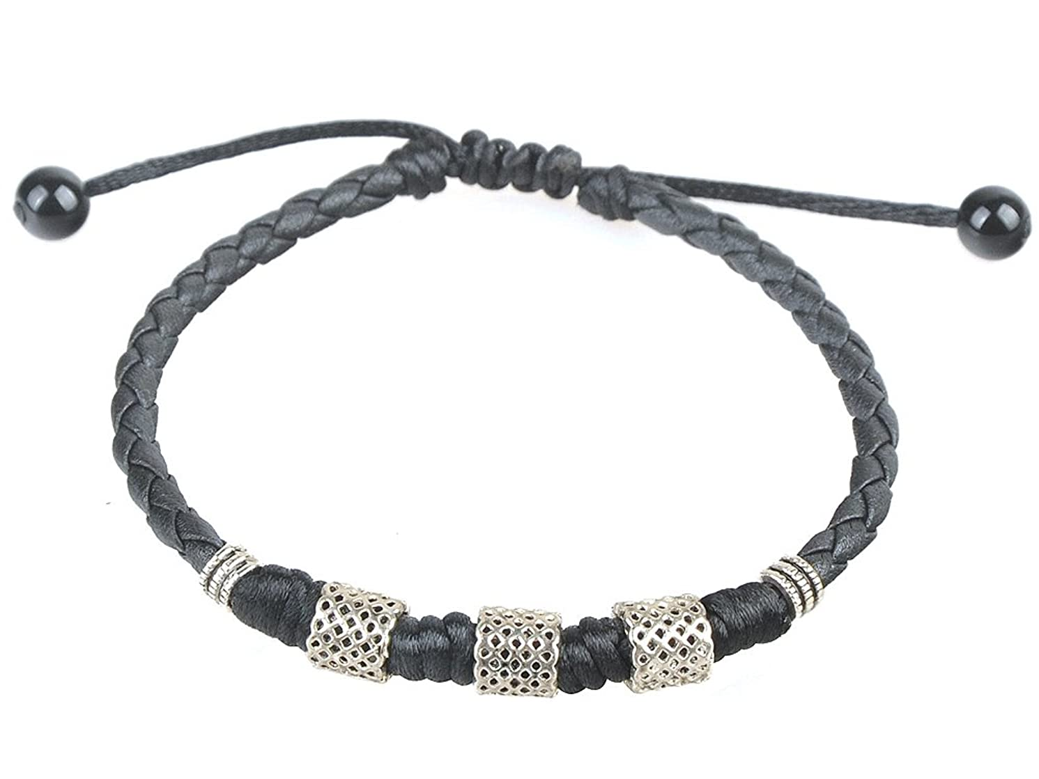 Ancient Tribe Handmade Adjustable Black Leather Anklet