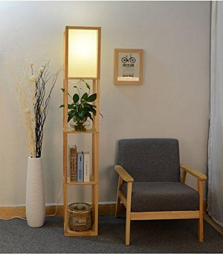 NAUY- Estantería Lámpara de pie China Sala de estar Dormitorio Estudio Estantería de almacenamiento Estante Luces Salón Sofá de la cama Lámpara de lectura vertical de esquina Lámpara de pie vertical e
