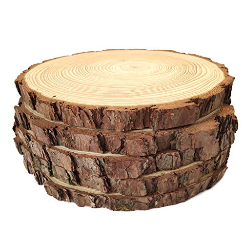 Natural Wood Slices Round Pine Wood Slabs 5 Pack Round Rustic Woods Slices 9'-11' Rustic Tree Bark Slice Weathered Log Disc Outdoor Country Barn Wedding Table