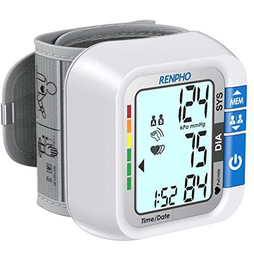 RENPHO Polso Misuratore Pressione per Domestico, Macchine per la Pressione Sanguigna da Polso con Grande Display LCD Retroilluminato per 2 Utenti con Capacità di 120 Memorizzazioni