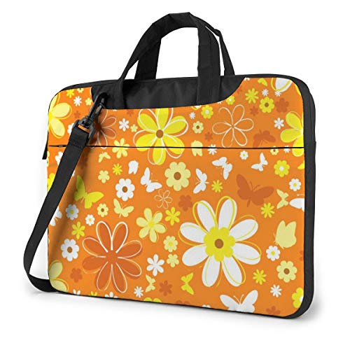 Yellow and Orange Flower Laptop Bag Shockproof Briefcase Tablet Carry Handbag for Business Trip Office 13 inch
