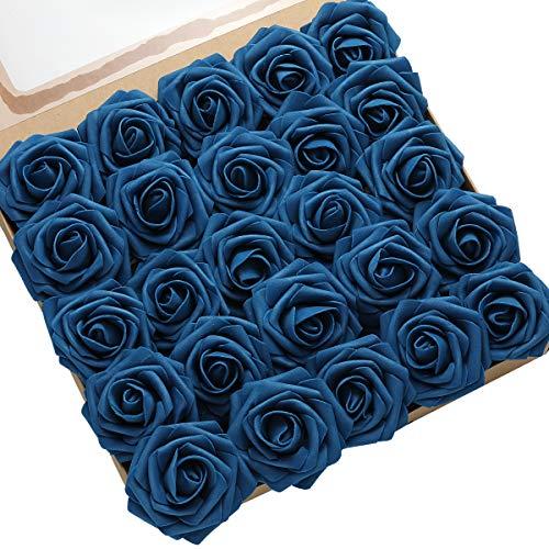 DerBlue - 60 rosas artificiales, rosas artificiales de espuma para decoración de bodas, ramos de boda, centros de mesa, arreglos para fiestas de baby shower