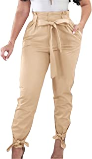 GOBLES Women Solid Casual Work Trousers High Waist Ruffle...