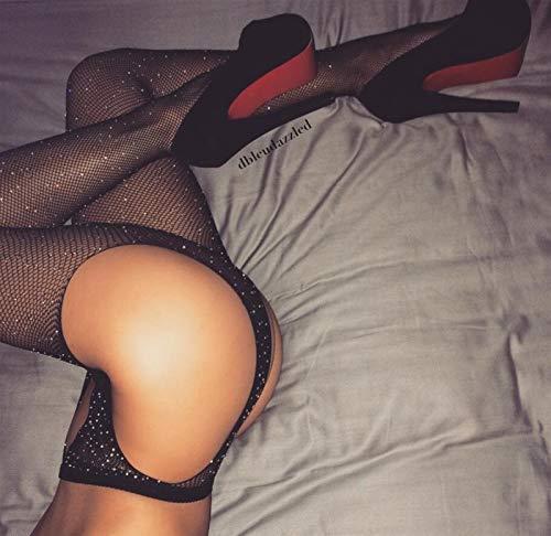 Calze Nuove calze di cristallo sexy calze a rete collant rhinestone pantyhose sexy lingerie nero pizzo nero coscia calze elevate per le donne media (Color : Blue, Size : One Size)