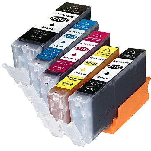 5 Tintenpatronen kompatibel für Canon PGI-570 CLI-571 XL für Canon Pixma Pixma MG-5750, MG-5751, MG-5752, MG-5753, MG-6850, MG-6851, MG-6852, MG-6853, MG-7750, MG-7751, MG-7752, MG-7753