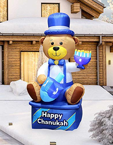 Zion Judaica Inflatable Lawn Hanukkah Bear Indoor Outdoor Decoration with LED Night Glowing Lights - 8' Tall (Multi - Blue)