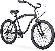 Firmstrong Bruiser Man Seven Speed Beach Cruiser Bicycle, 26-Inch, Matte Black
