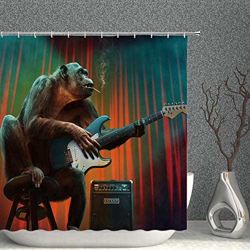 Funny Animal Decor Shower Curtain Smoking Gorilla Playing Electric Guitar Music Lover Cute Wildlife Fabric Bathroom Curtains,70x70 Inch Waterproof Polyester with Hooks