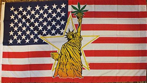 Bandera de la Estatua de la libertad con marihuana 3x 5420USA poliéster 2arandelas de latón