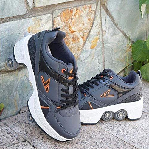 Zapatos De Patines De Cuatro Ruedas Ajustables Deformación Patines En Línea Zapatos Multipropósito 2 En 1 Patinaje sobre Hielo Interior Y Exterior para Adolescentes Adultos,39