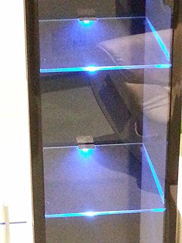 LED-Glas-Regal-Vitrinen-Leuchte-Lampe, 4 x LED Clipleuchten - mit je 3 LED Lichtfarbe blau