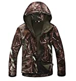 Noga Men Outdoor Hunting Camping Waterproof Coats Soft Shell Trees Camouflage Jacket Hoodie (l)