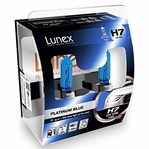 LUNEX H7 PLATINUM BLUE Ampoules Halogenes Phare Bleu 477 12V 55W PX26d 4700K duobox (2 pièces)