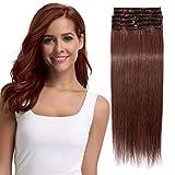 Clip in Extensions Echthaar Rotbraun #33 Haarverlängerung 8 Teile 18 Clips Remy Human Hair guenstig Glatt Haarverdichtung 45cm-70g