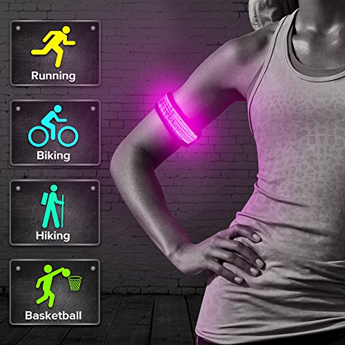 BSEEN LED Armband for Running, Glow in The Dark Sports Safety Light up Slap Bracelets for Boys& Girls, Party Favor Event Wristbands for Cycling, Jogging, Hiking (Pink-Design II-Logo)