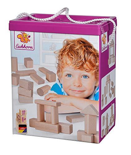 Eichhorn 50 naturfarbene Holzbausteine in Aufbewahrungsbox mit Sortierdeckel, FSC 100{8d06ff95c27ebf44ed227ed246e147cdf4c335b177d8b1840712edcd04c46e4a} zertifiziertes Buchenholz, hergestellt in Deutschland, Motorikspielzeug geeignet für Kinder ab 1 Jahr