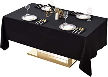 Surmente Table Cloth 60 x 102-Inch Rectangular Polyester Tablecloth, Banquets, or Restaurants (Black) … …