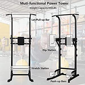 DOIT Power Tower Pull Up and Dip Station with Barbell Rests for Gym/Home Workout(All Black)