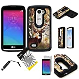 For LG Tribute2 LS665/LG Tribute Duo/LG RISIO/ LG Leon H320 /LG Power /LG Destiny /LG Sunset ITUFFY (TM) 3items Combo: Screen Protector + Stylus Pen + Hybrid Armor Tuff Case (Tree Deer Camouflage)