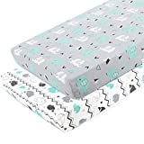 BROLEX Pack n Play Stretchy Fitted Pack n Play Playard Sheet Set 2 Pack Portable Mini Crib Sheets,Convertible Playard Mattress Cover,Ultra Soft Material,Elephant & Whale