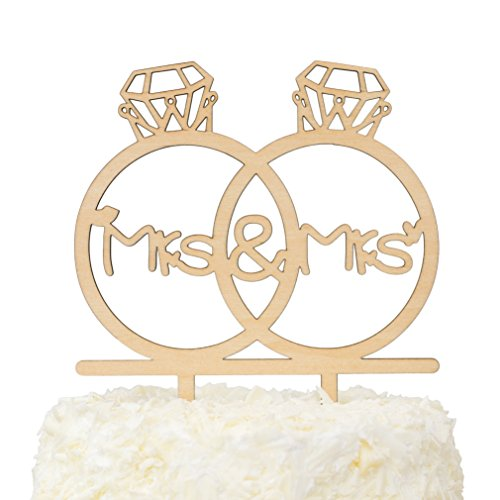 LOVENJOY - Gift Box - Wooden Mrs and Mrs Lesbian Cake Topper