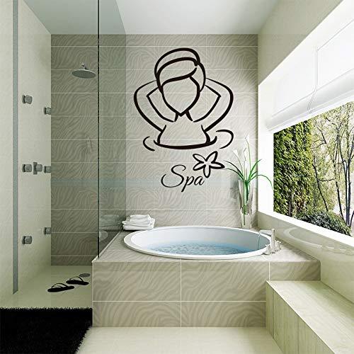 Vkjrro Señoras SPA Vinilo Impermeable Pegatina de Pared póster Mural baño azulejo decoración del hogar Moda Original Pintura Decorativa Simple 65x99cm
