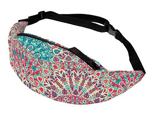 Alsino Unisex Bauchtasche Festival Hippie Hipster Gürteltasche mit Reißverschluss und Innenfach - 13 cm Breit - All-Over Print Motiv, GT-133 Muster rot bunt