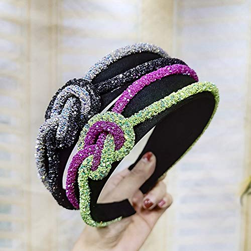 XdiseD9Xsmao Fashion Dames Headwear Dual Color haaraccessoire Exqusite Duurzaam verknoopt strass touw haarband hoofdband paars + rozenrood.